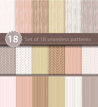 decorative pattern: Set of 18 seamless patterns, wood, line art design