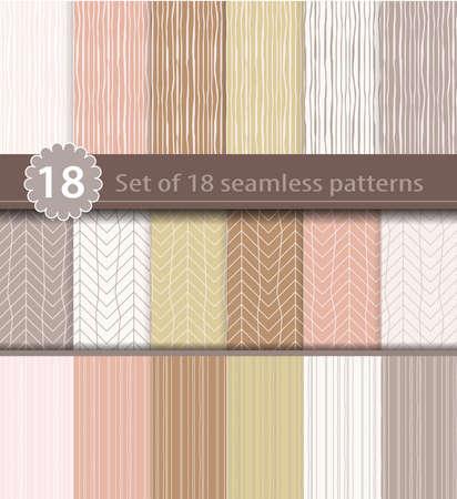 Set of 18 seamless patterns, wood, line art design