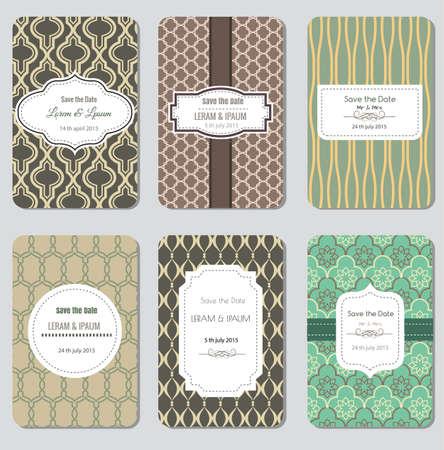 love card: Save The Date Set, Wedding Invitation Card, Vector Illustration Illustration