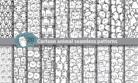 漫画の動物のシームレスなパターン。パターンスウォッチ イラストレーター ユーザー パターン スウォッチの便利な使用のためのファイルに含まれ  イラスト・ベクター素材
