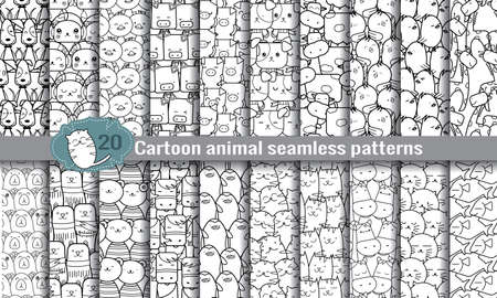 cartoon animal seamless patterns. pattern swatches included for illustrator user, pattern swatches included in file, for your convenient use. Vectores