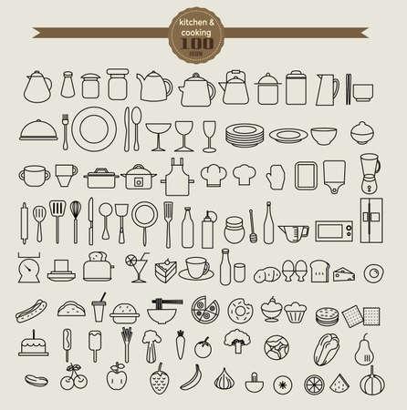 alimentos y bebidas: icono de herramienta de cocina fija y el icono de alimentos establecido. ilustración vectorial