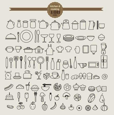 kitchen tool icon set and food icon set. vector illustration