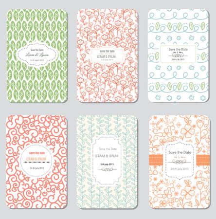 motif floral: Enregistrer la date fixée, Invitation Carte de mariage, illustration vectorielle Illustration