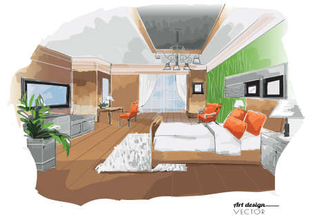 preliminary: Vector interior sketch design, bed room on white paper background, watercolor style