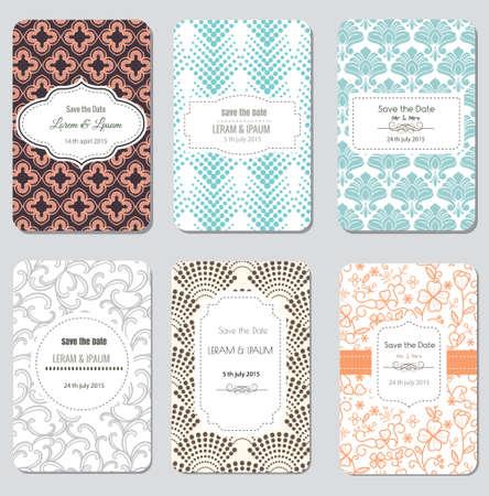 Save The Date Set, Wedding Invitation Card, Vector Illustration Stock Illustratie