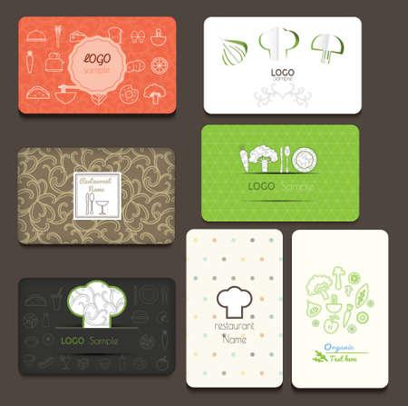 Conjunto de tarjetas de visita. Por cafetería y restaurante. ilustración vectorial