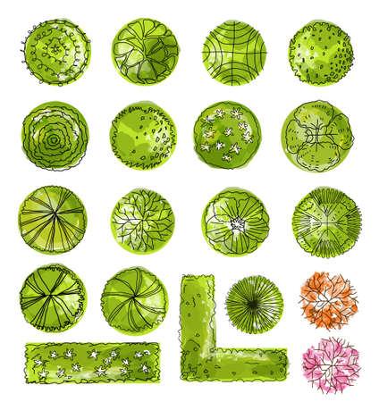 paesaggio: set di simboli di cime degli alberi, per la progettazione architettonica e del paesaggio. Vettoriali