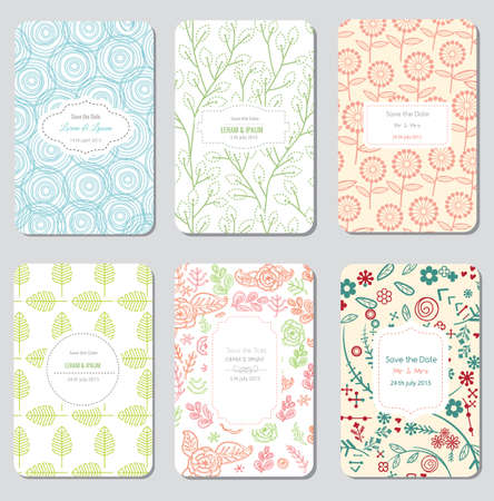 Save The Date Set, Wedding Invitation Card, Vector Illustration Vettoriali