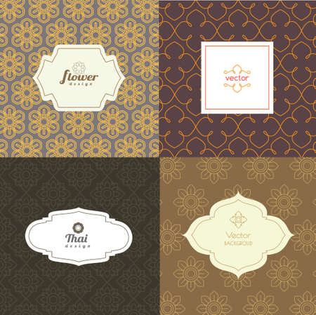 siam: Vector mono line graphic design templates - labels and badges on decorative backgrounds Illustration