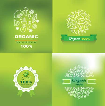 Étiquettes et éléments alimentaires biologiques, préparés pour l'illustration vectorielle de produits alimentaires, boissons, restaurants et produits biologiques. Vecteurs