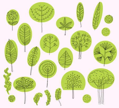tree branch: set of vector trees symbols,sketch of tree pattern for exterior design, Organic, bio, natural design elements