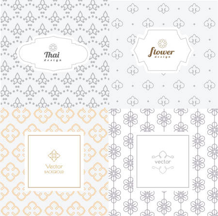 siam: Vector mono line graphic design templates - labels and badges on decorative backgrounds ,style thai pattern.vector illustration Illustration