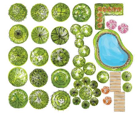arbre vue dessus: ensemble de symboles treetop, pour la conception architecturale ou paysagère. vecteur Illustration