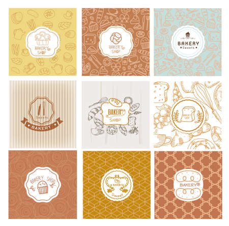 bread: Set of vector bakery logo. Bread and pastries labels, badges and design elements