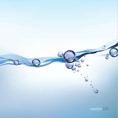 burbuja: salpicaduras de agua sobre fondo blanco, onda de agua con la ilustración de las burbujas Vectores