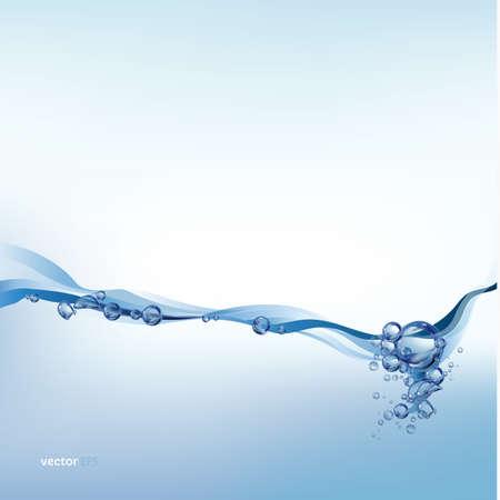 salpicaduras de agua sobre fondo blanco, onda de agua con burbujas, ilustración vectorial