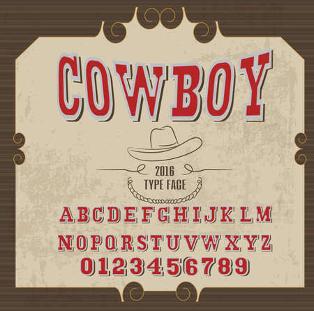 retro alphabet in western style, cowboy style, vector font for labels and posters Фото со стока - 70301118