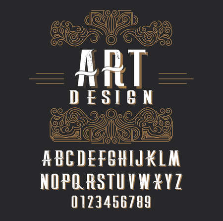 Retro type font, type letters, numbers and floral frame with copy space for text or letter - emblem for fashion, beauty and jewelry industry Иллюстрация