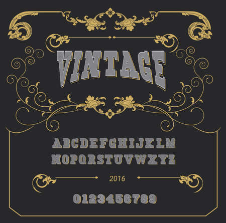 Retro type font, type letters, numbers and punctuation marks. Distressed vintage design vector font.