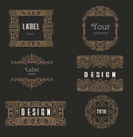 Vector logo design template,  floral frame, line art style, emblem for package, beauty and jewelry industry