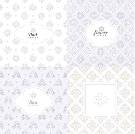 Vector mono line graphic design templates - labels and badges on decorative backgrounds ,style thai pattern.vector illustration Иллюстрация