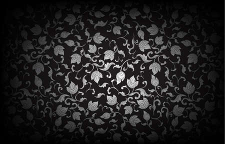 Thai art pattern on black background.vector illustration