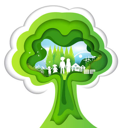 Eco paper art design style, tree and family with nature.vector illustration Иллюстрация