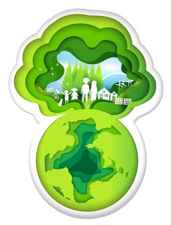 Eco paper art design style, tree and family with nature.vector illustration Illustration