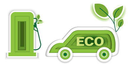 Eco car concept with icon leaf, paper art design style.vector illustration