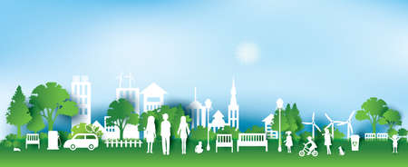 Green eco Stadt und das Leben Papier-Art-Stil, Stadtlandschaft und industrielle Fabrikgebäude concept.vector Illustration