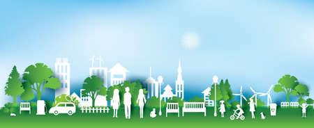 Groene eco stad en het leven papier art stijl, stedelijk landschap en industriële fabrieksgebouwen concept.vector illustratie
