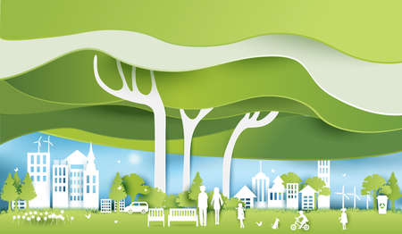 Green eco city and life paper art style, urban landscape and industrial factory buildings concept.vector illustration Vettoriali
