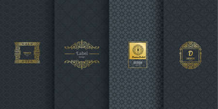 Collection of design elements,labels,icon,frames, for packaging,design of luxury products.Made with golden foil.Isolated on black background. vector illustration Фото со стока - 74242458