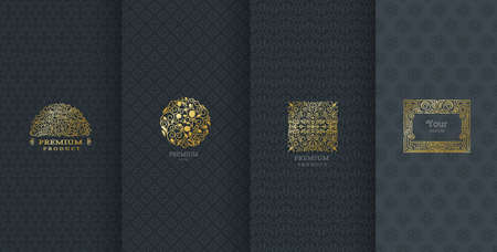Collection of design elements,labels,icon,frames, for packaging,design of luxury products.Made with golden foil.Isolated on black background. vector illustration Фото со стока - 74242573