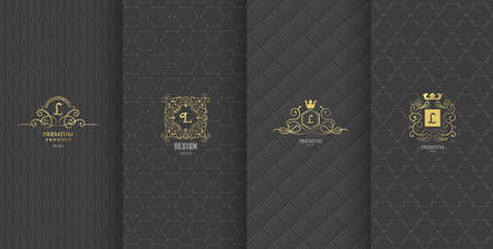 Collection of design elements,labels,icon,frames, for packaging,design of luxury products.Made with golden foil.Isolated on brown background. vector illustration
