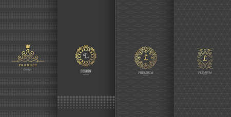 デザイン要素、ラベル、アイコン、パッケージ、高級品のデザインのためのフレームのコレクションです。黄金箔で作られました。茶色の背景に分  イラスト・ベクター素材