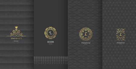 Collectie van design elementen, labels, pictogram, frames, voor het verpakken, het ontwerp van de luxe products.Made met gouden foil.Isolated op bruine achtergrond. vector illustratie Stock Illustratie