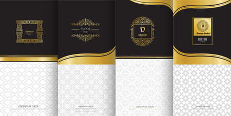 Collection of design elements, labels,icon and frames for packaging and design of luxury products.Made with golden foil Isolated on black background. vector illustration Иллюстрация