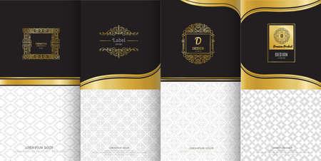 Verzameling van ontwerpelementen, etiketten, pictogram en frames voor verpakking en ontwerp van luxe producten. Gemaakt met gouden folie geïsoleerd op zwarte achtergrond. vectorillustratie