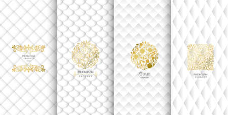 Collection of design elements,labels,icon,frames, for packaging,design of luxury products.Made with golden foil.Isolated on white background. vector illustration Illustration