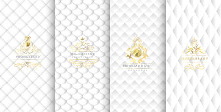 Collection of design elements,labels,icon,frames, for packaging,design of luxury products.Made with golden foil.Isolated on white background. vector illustration Иллюстрация