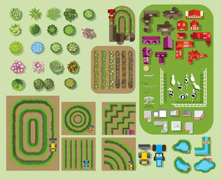 set of tree top symbols, for architectural or landscape design, for map, line art design.vectorillustration Vettoriali