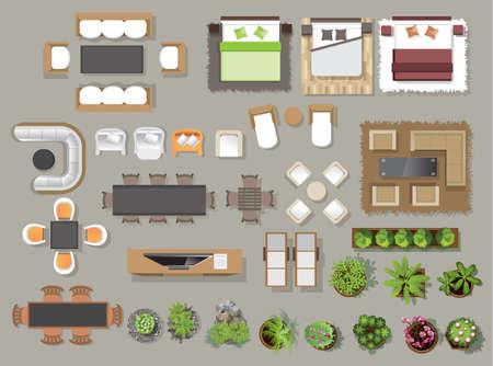Icônes intérieures vue de dessus, arbre, meuble, lit, canapé, fauteuil, pour la conception architecturale ou paysagère, pour l'illustration map.vector Vecteurs