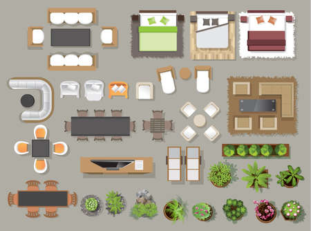 Ikony wnętrza widok z góry, drzewa, meble, łóżko, sofa, fotel, dla projektu architektonicznego lub krajobrazu, dla map.vector ilustracji Ilustracje wektorowe