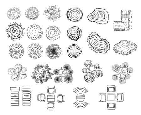 Set van boom top symbolen, voor architecturaal of landschap ontwerp, voor kaart, lijn kunst design.vector illustratie