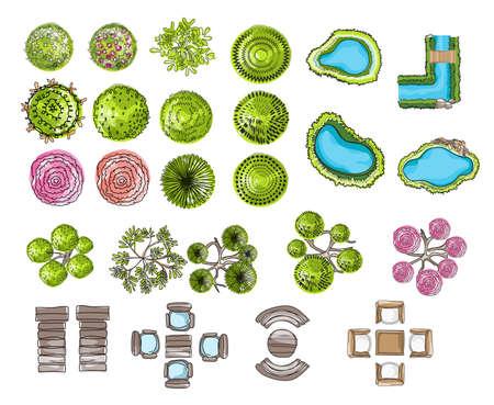 Ensemble de symboles de l'arbre, pour la conception architecturale ou paysagère, pour la carte, le style de couleur de l'eau. Illustration du vecteur