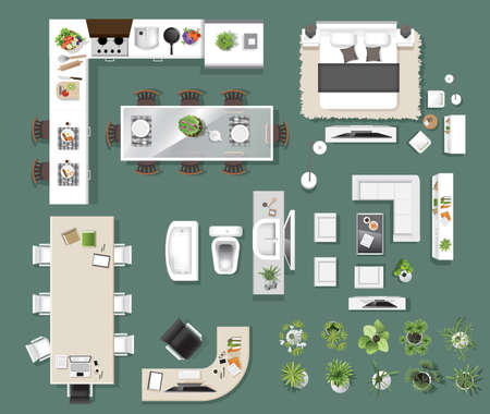 Interior icons top view, tree ,furniture, bed,sofa, armchair, for architectural or landscape design, for map vector illustration