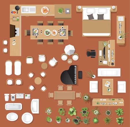 Vista superiore delle icone interne, albero, mobilia, letto, sofà, poltrona, per progettazione architettonica o paesaggistica, per l'illustrazione di map.vector