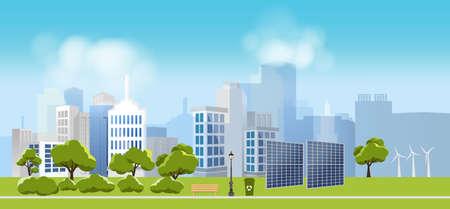 Green eco ville et la vie, détendez le jardin, le paysage urbain et l'usine industrielle concept.vector illustration Banque d'images - 83558086